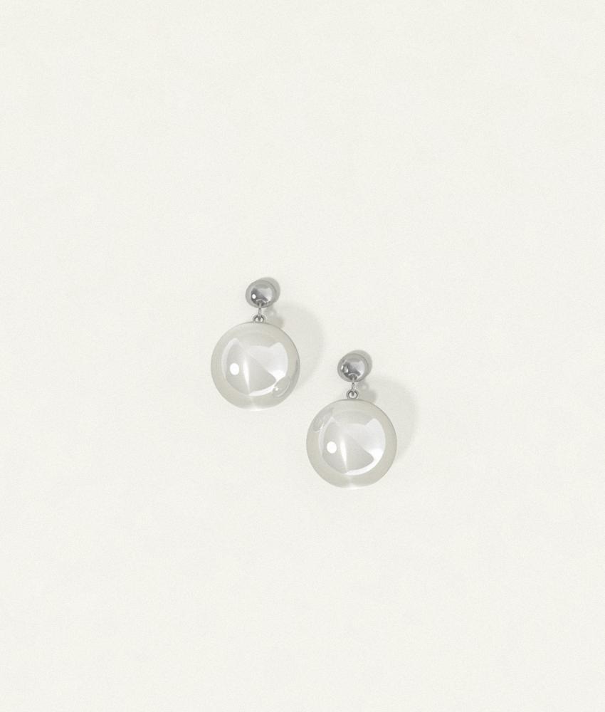 Clear Earrings Silver