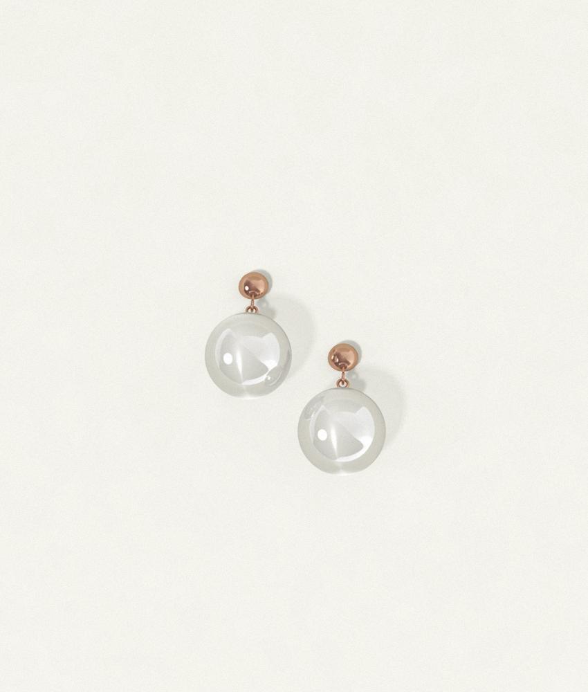 Clear Earrings Bronze