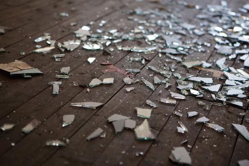 Broken glass on a floor window film can help prevent this.