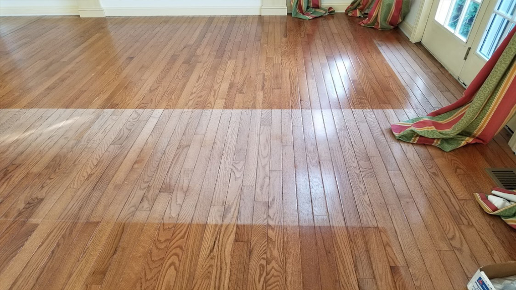 Sun related hard wood floor damage