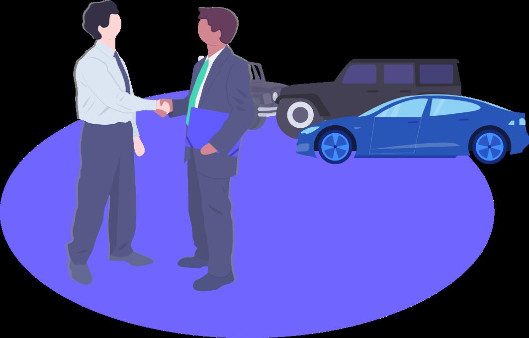 Un comercial vende un coche nuevo