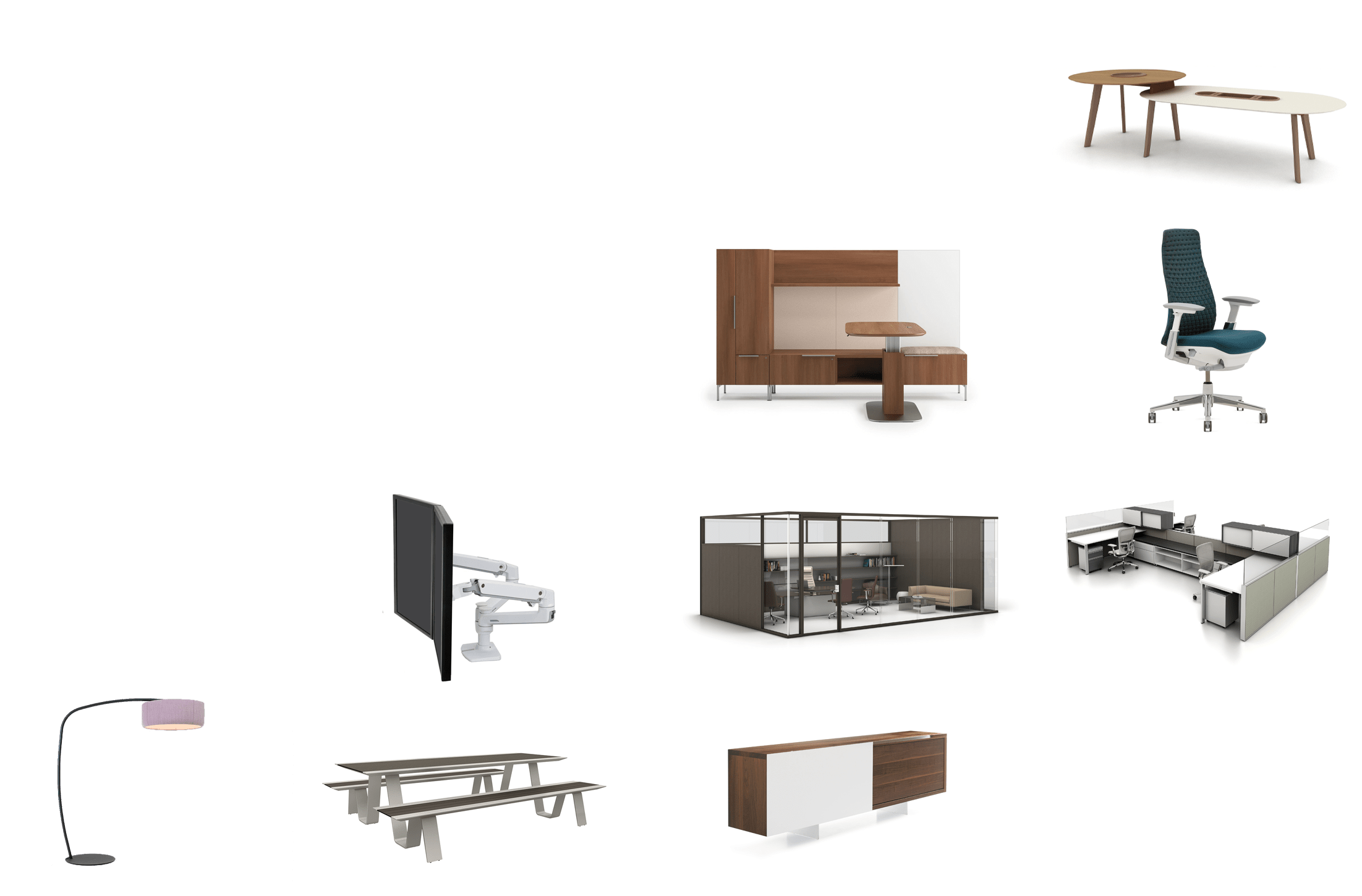 A collection of product images, including chairs, desks, tables & more