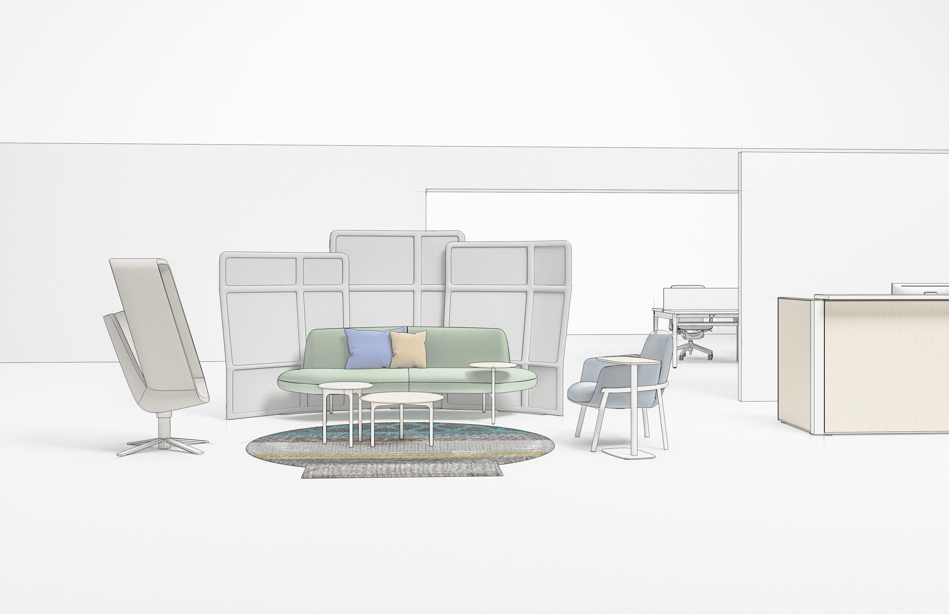 Social Spaces: Haworth Collection Windowseat