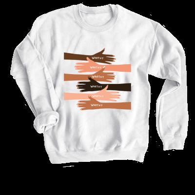 Worthy Oh Happy Dani merch, a white crewneck sweatshirt