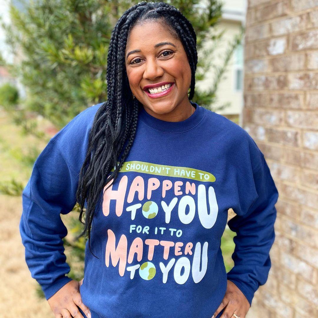 It Should Matter Oh Happy Dani merch, a black crewneck sweatshirt