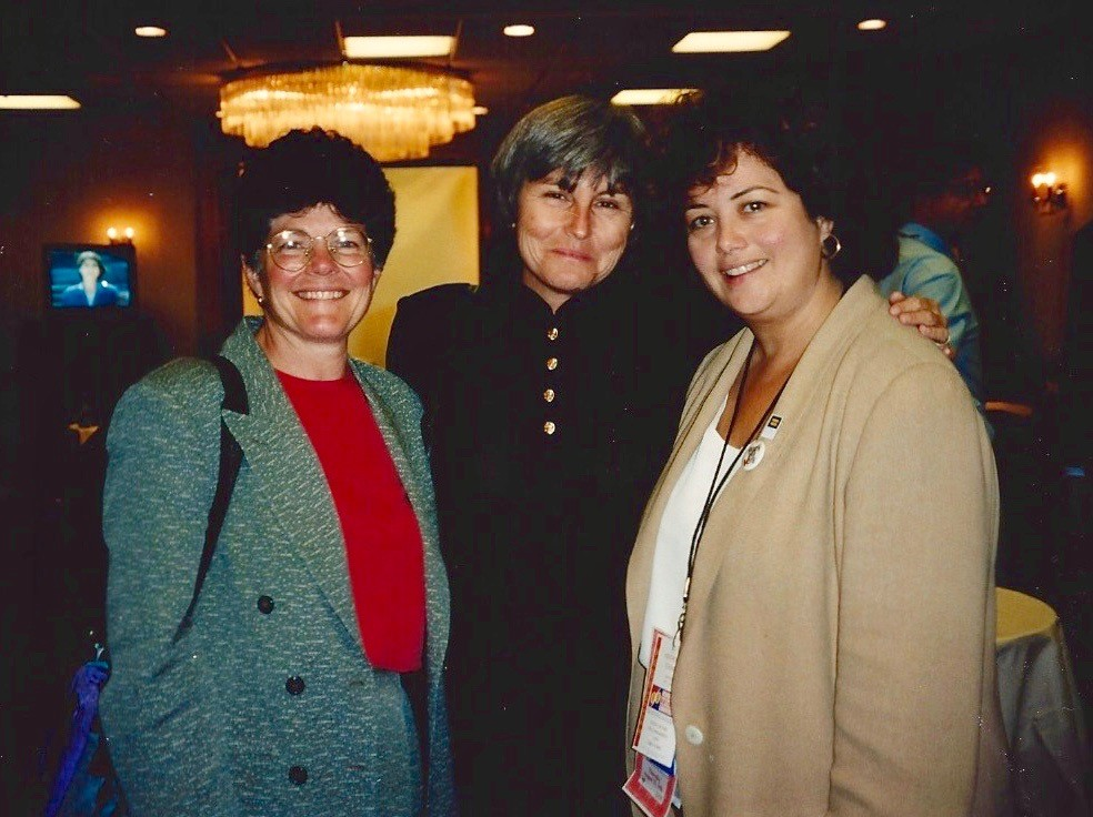 Former HUD Assistant Secretary Roberta Achtenberg with Mary Morgan and Hilary Rosen. Courtesy of Edgar B. Anderson