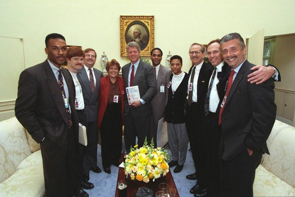 Victory Fund's William Waybourn (third from right) and other LGBTQ leaders at a historic Oval Office meeting with President Clinton. Courtesy of President Bill Clinton White House