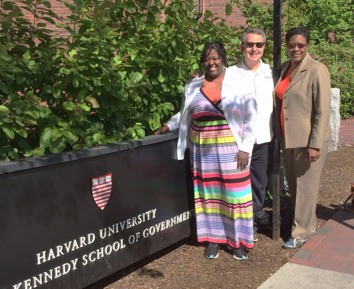 Charlotte City Councilmember LaWana Mayfield, Claremont Unified School District Board Member Steven Llanusa, and Georgia State Representative Keisha Waites outside the Harvard Kennedy School of Government during their Victory Institute Bohn