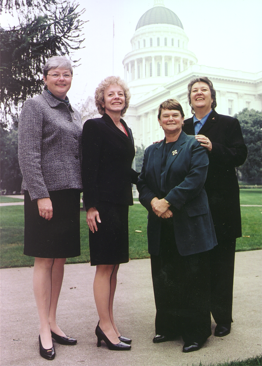 The first four out members of the California Assembly, Christine Kehoe, Carole Migden, Sheila James Kuehl, and Jackie Goldberg.