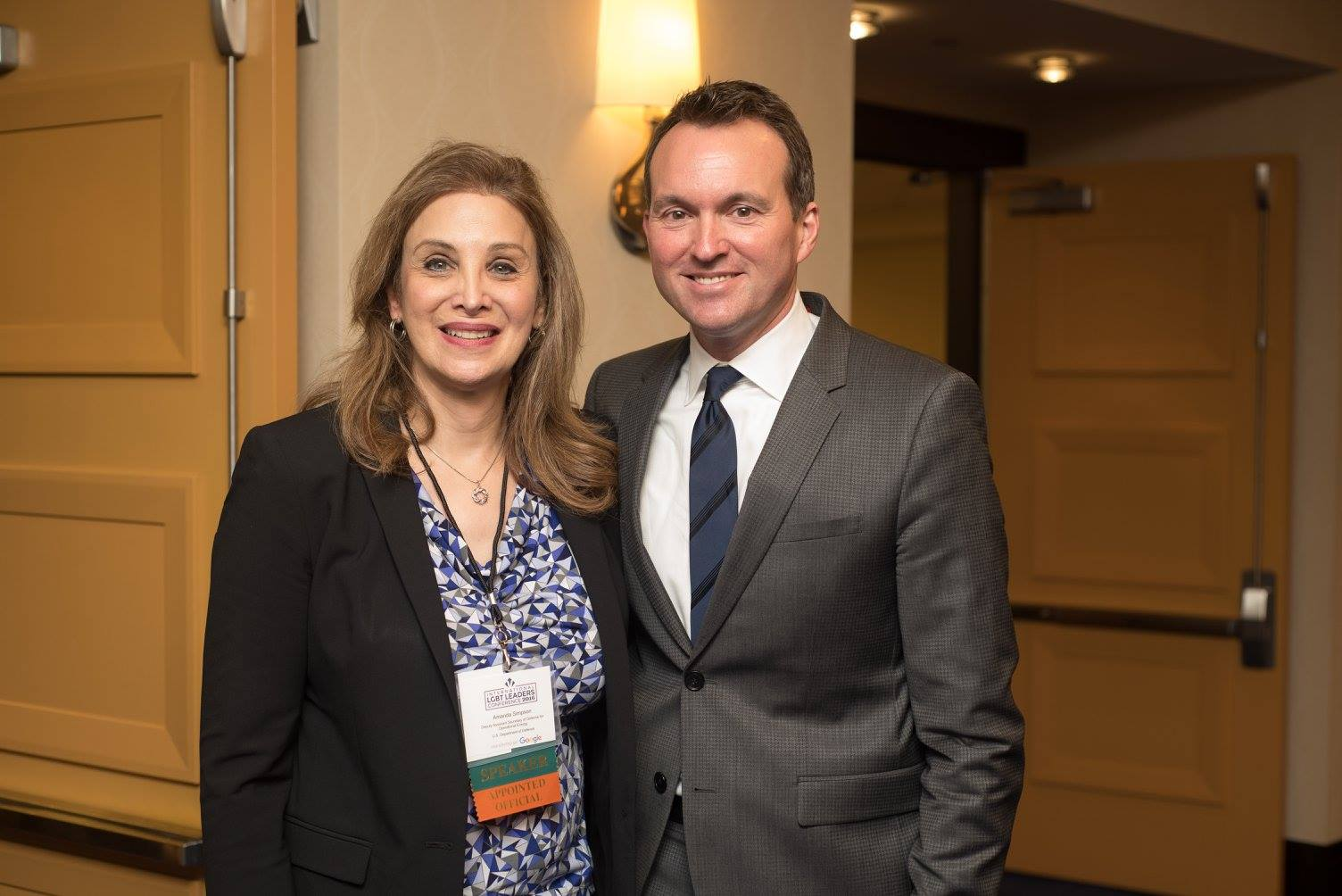 Former Army Secretary Eric Fanning with former Defense Department official Amanda Simpson at the International LGBTQ Leaders Conference in 2017.