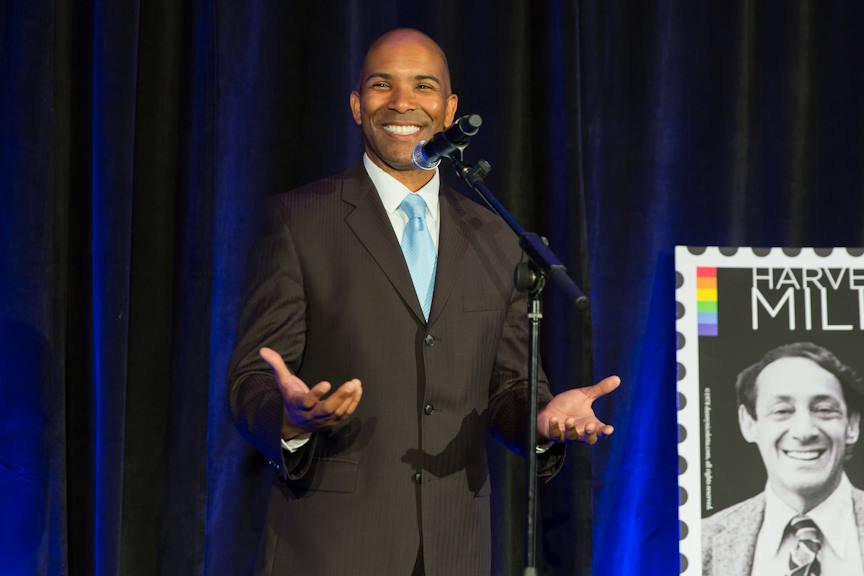 Former Acting Executive Director of LGBTQ Victory Institute Torey Carter speaks at the 2014 unveiling of the Harvey Milk stamp.