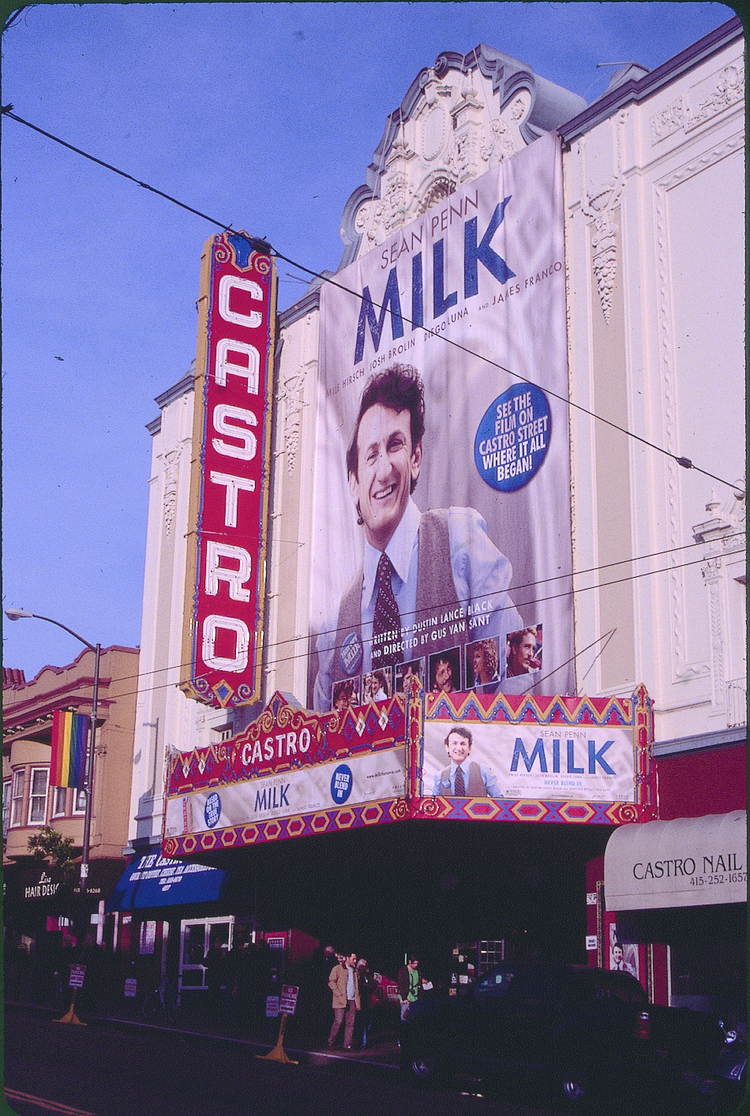 The Milk poster drapes San Francisco's Castro Theatre ahead of the 2008 premiere there. Photo by Max Kirkeberg