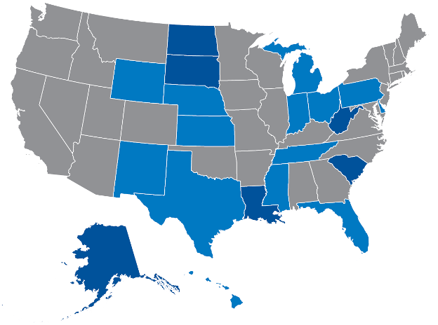 Victory Fund graphic from 2007 highlighting the states that lacked out LGBTQ officials. States in dark blue had no out LGBTQ legislators in 2007, while states in dark blue had no out LGBTQ elected officials.