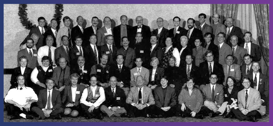 LGBT elected officials at an early International Network of Lesbian and Gay Officials event.
