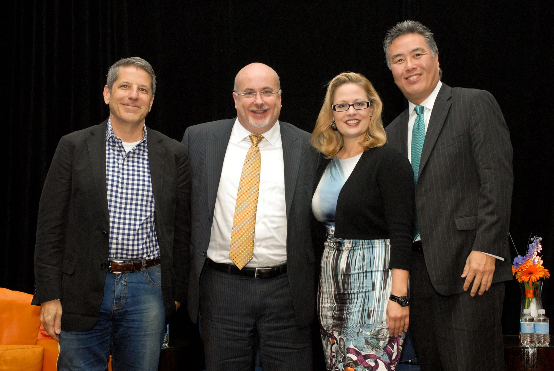 Former LGBTQ Victory Fund Chair Steve Elmendorf with Representatives-elect Mark Pocan, Kyrsten Sinema and Mark Takano at the 2012 International LGBTQ Leaders Conference in Long Beach, California.