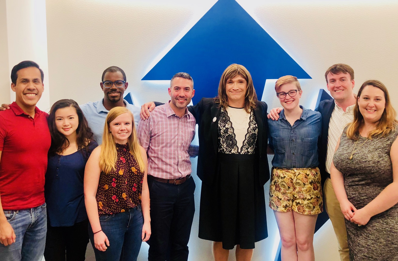 Vermont gubernatorial candidate Christine Hallquist (fourth from right) with Victory Fund staff in 2018.