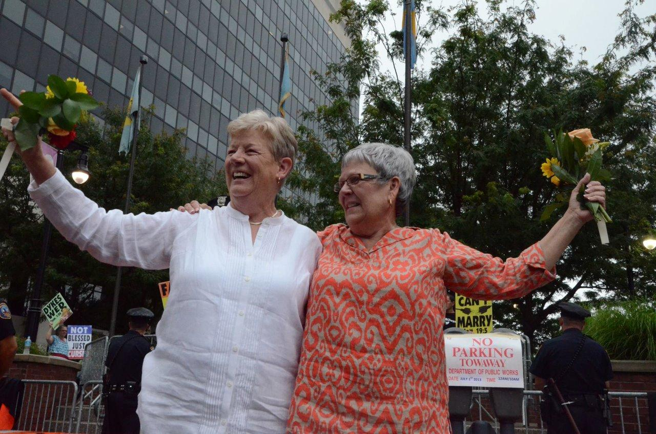 Senator Karen Peterson and wife Vikki Bandy, Delaware's first same sex couple to have civil union converted to marriage. Courtesy of Delaware Public Media.