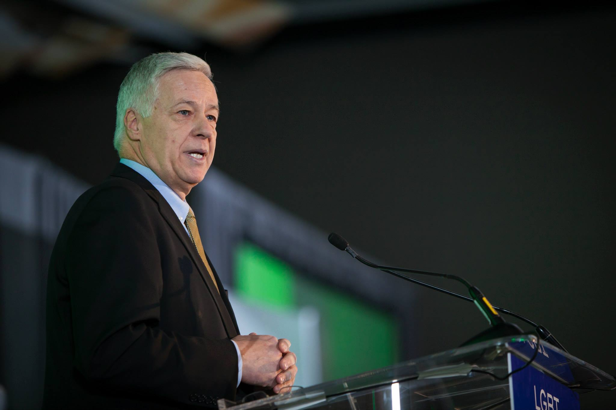 U.S. Rep. Mike Michaud of Maine speaks at the International LGBTQ Leaders Conference in Denver in December 2013.