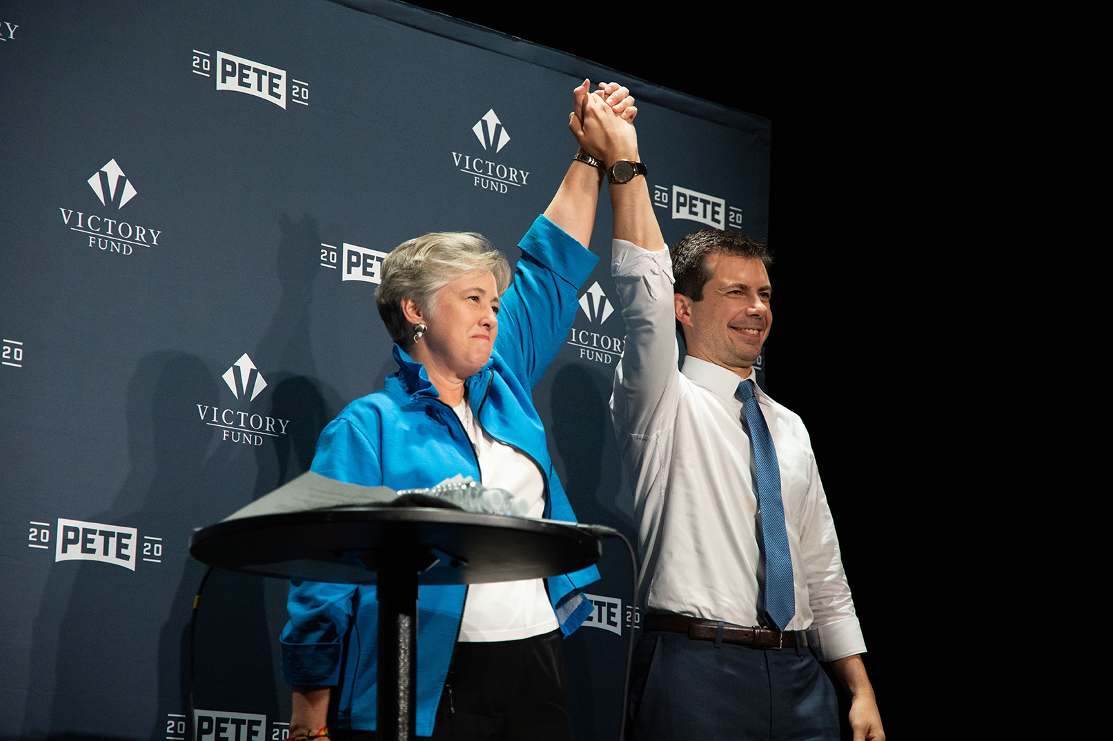 Victory Fund President &CEOAnnise Parker stands with Pete Buttigieg as Victory Fund announces its endorsement of Buttigieg in New York City on the 50th anniversary of the StonewallUprising in June 2019. It was Victory Fund's first endors