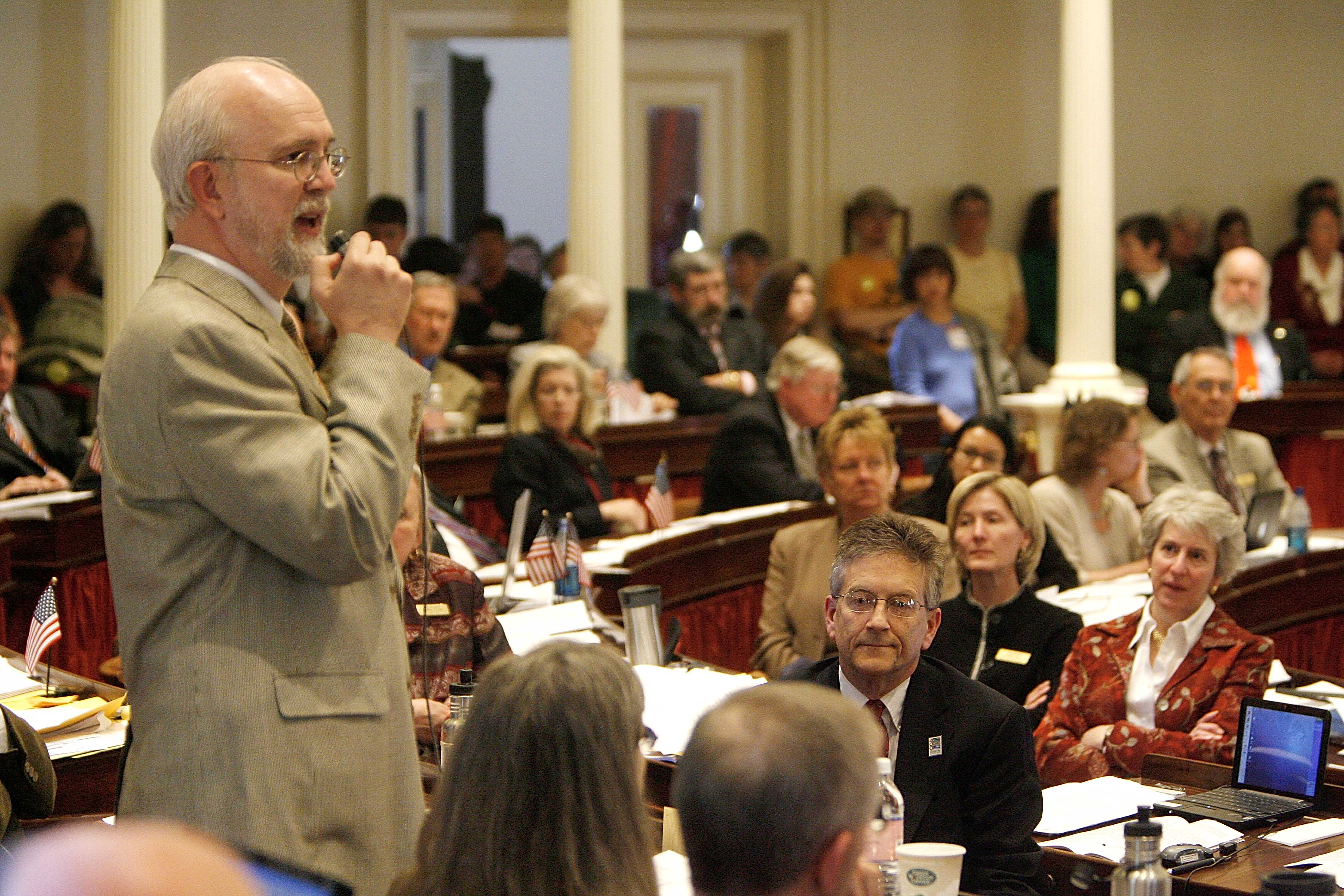 Rep. Bill Lippert opens a debate on marriage equality legislation in the Vermont House in April 2009. AP photo
