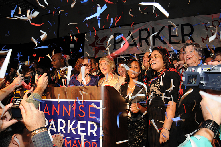 Annise Parker with her wife Kathy Hubbard after winning the mayoral election.