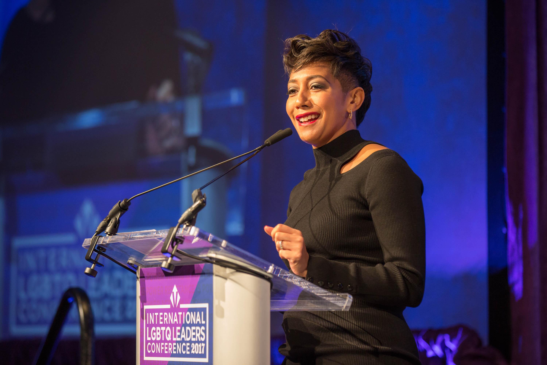 Aisha C. Mills speaks at the 2017 International LGBTQ Leaders Conference.