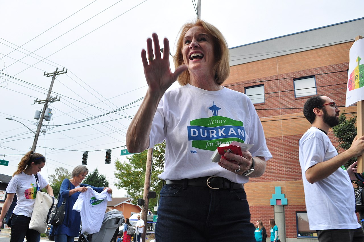 Jenny Durkan on the campaign trail in 2017.