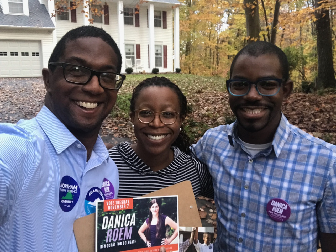 Victory staff knocking doors for candidate Danica Roem before her June primary.