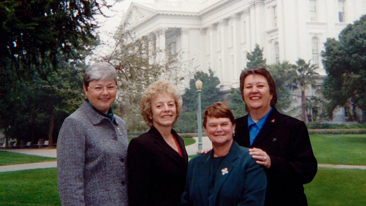 State legislators (left to right) Christine Kehoe, Carole Migden, Sheila James Kuehl, and Jackie Goldberg.