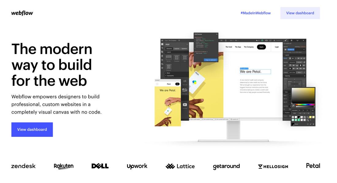 Page d'accueil Webflow