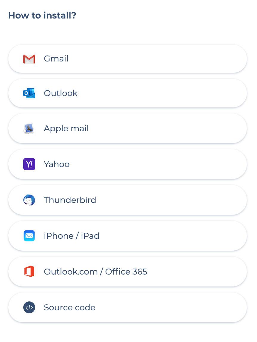 installer signature gmail outlook