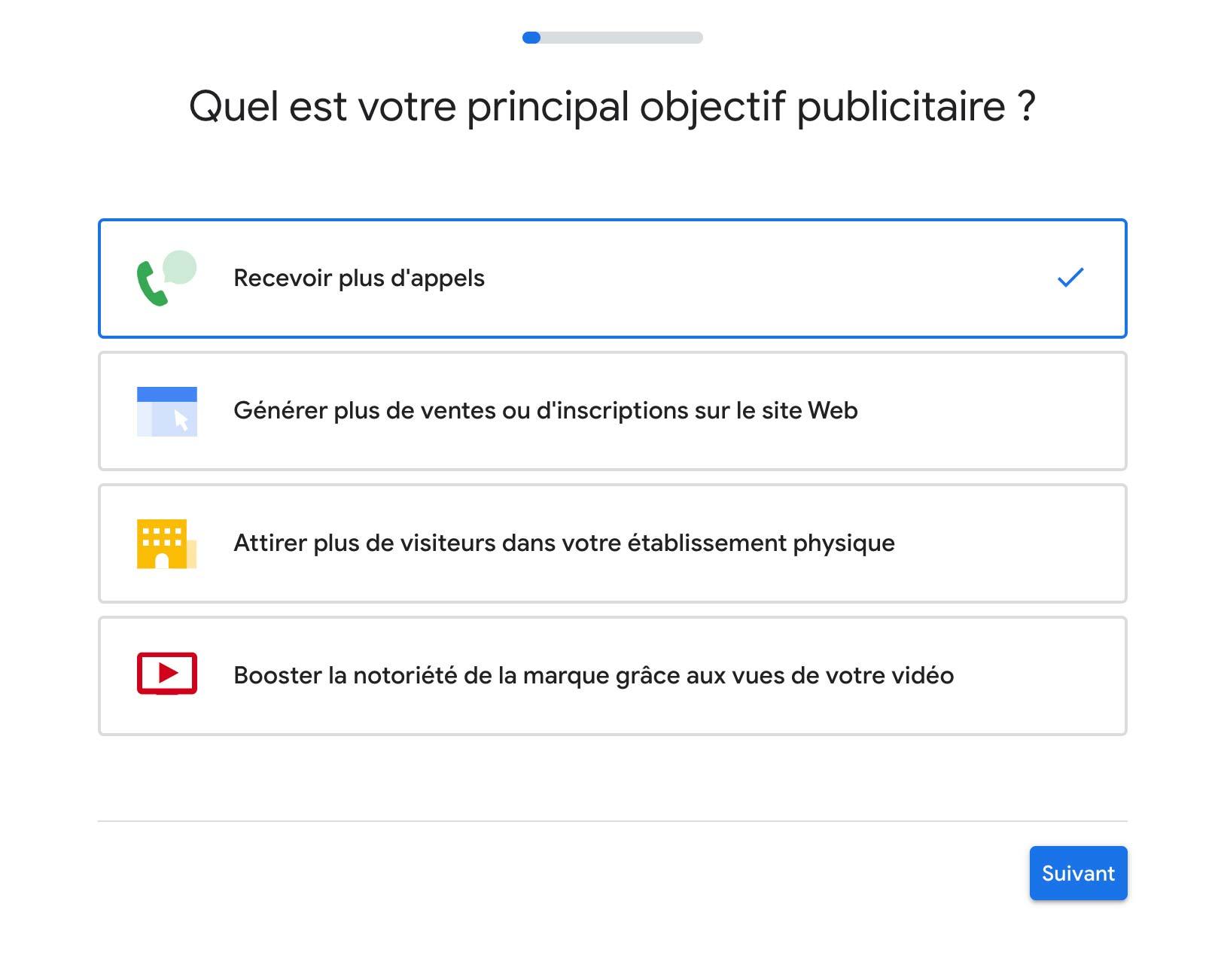 Objectif campagne Google Ads