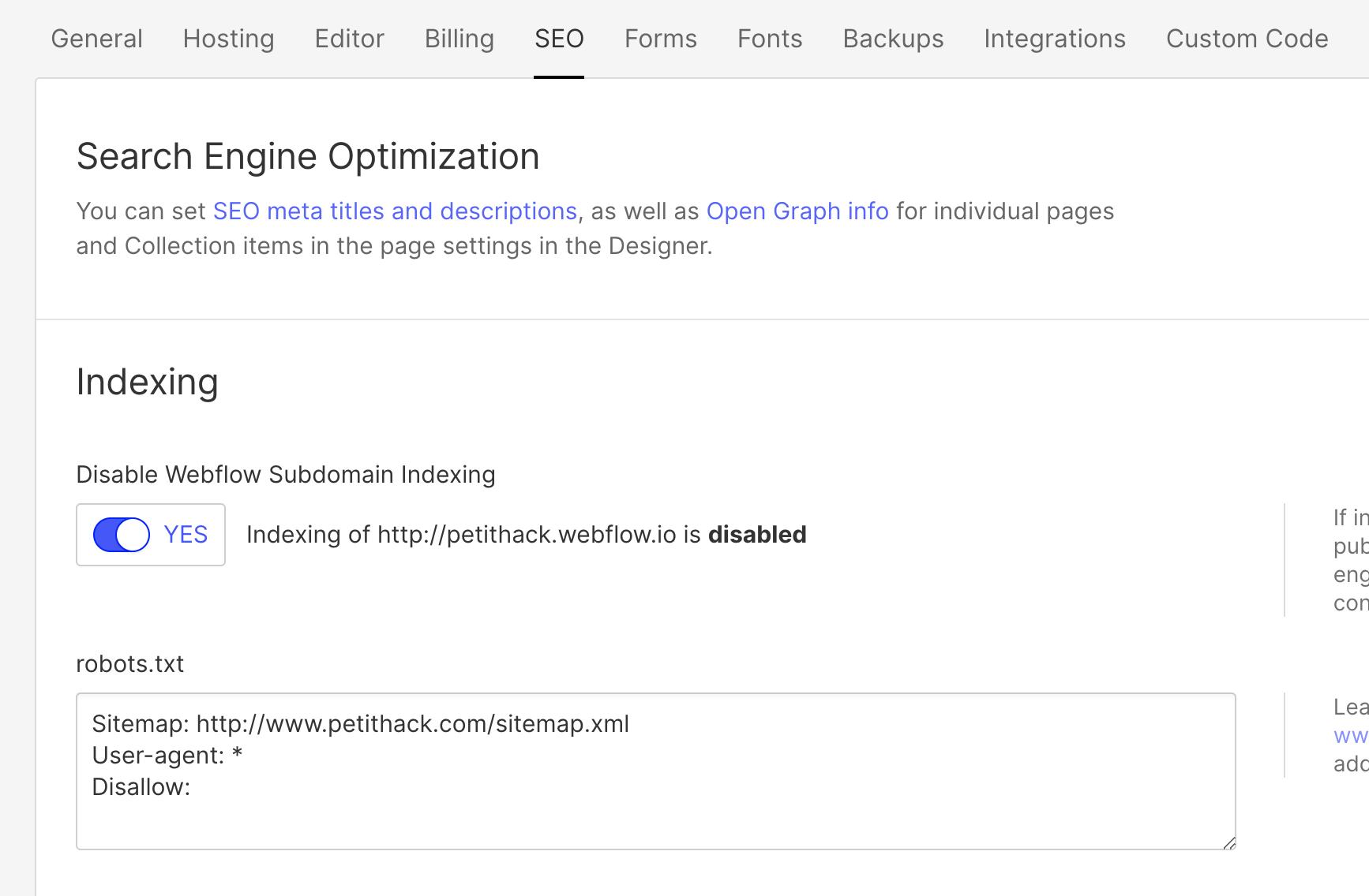 Sitemap webflow