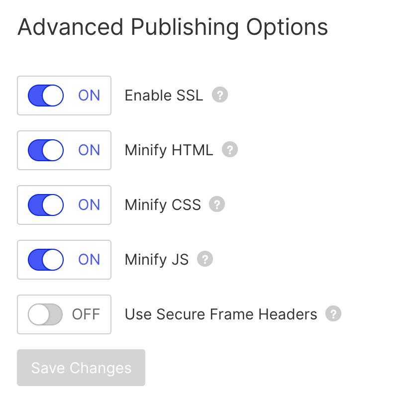 option de publication avancée webflow