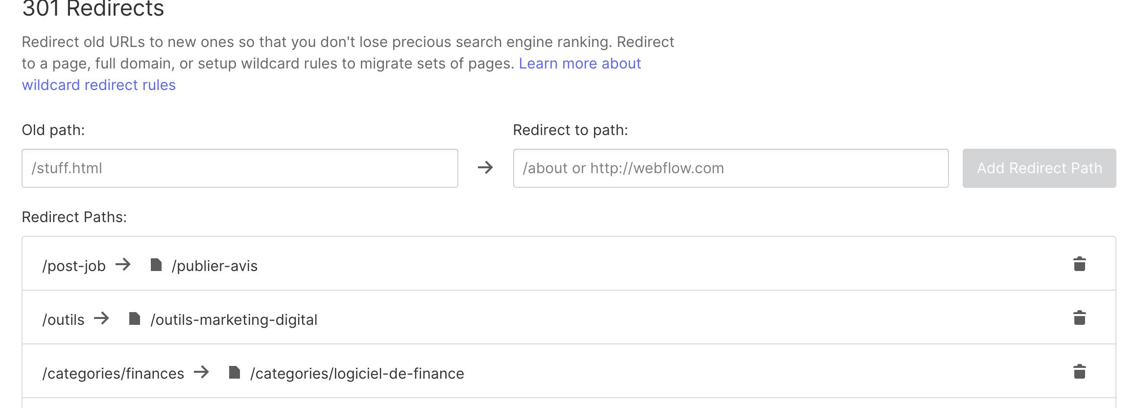 redirection 301 webflow