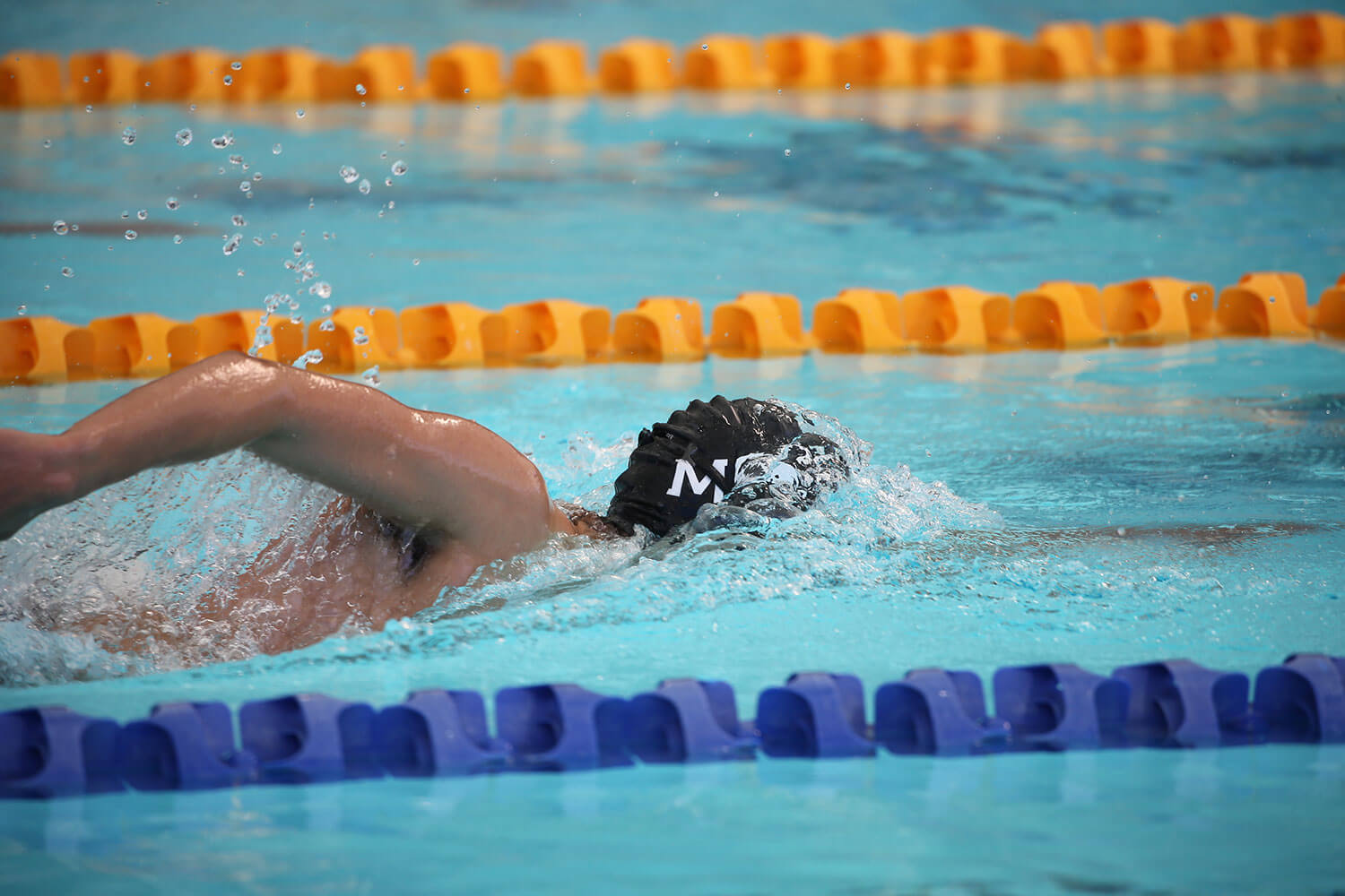 MSC Swimmer swimming in the water with a MSC cap