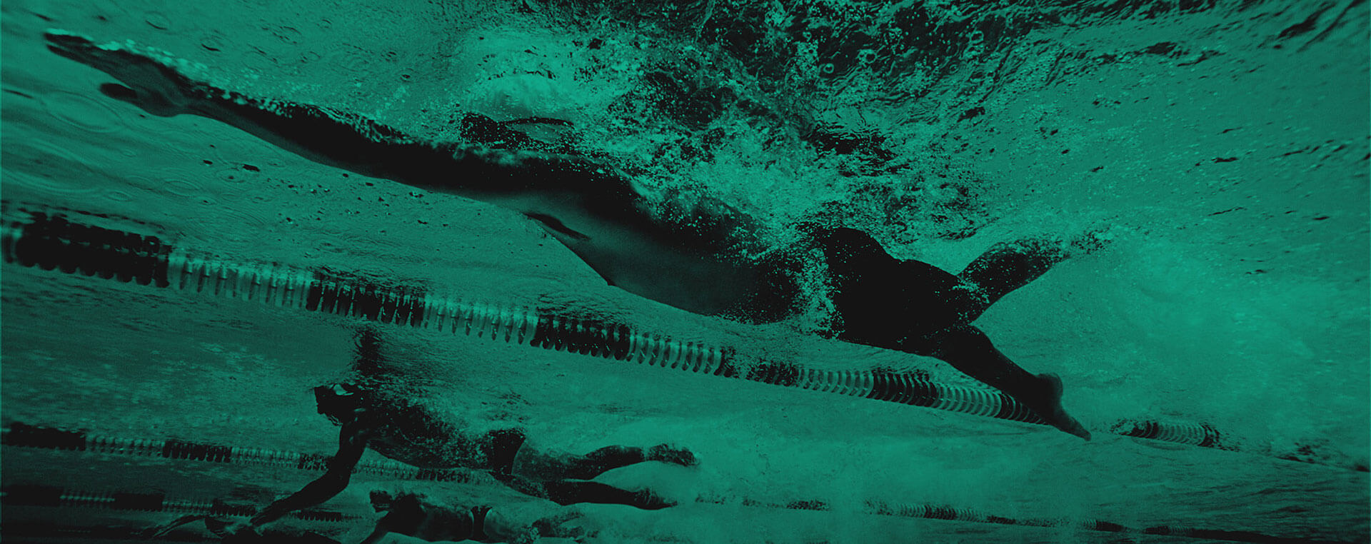 Green and black background image with a men in a swimming race