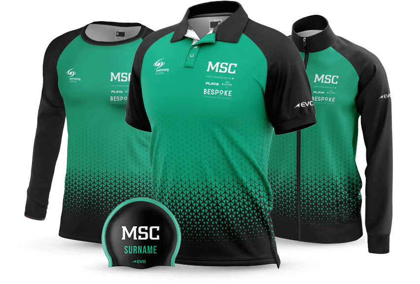 Green and black Poloshirt, t-shirt, cap and jacket with MSC branding