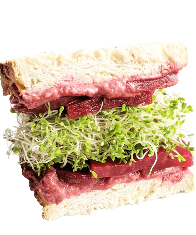 Healthy sandwich made of beets and alfalfa sprouts