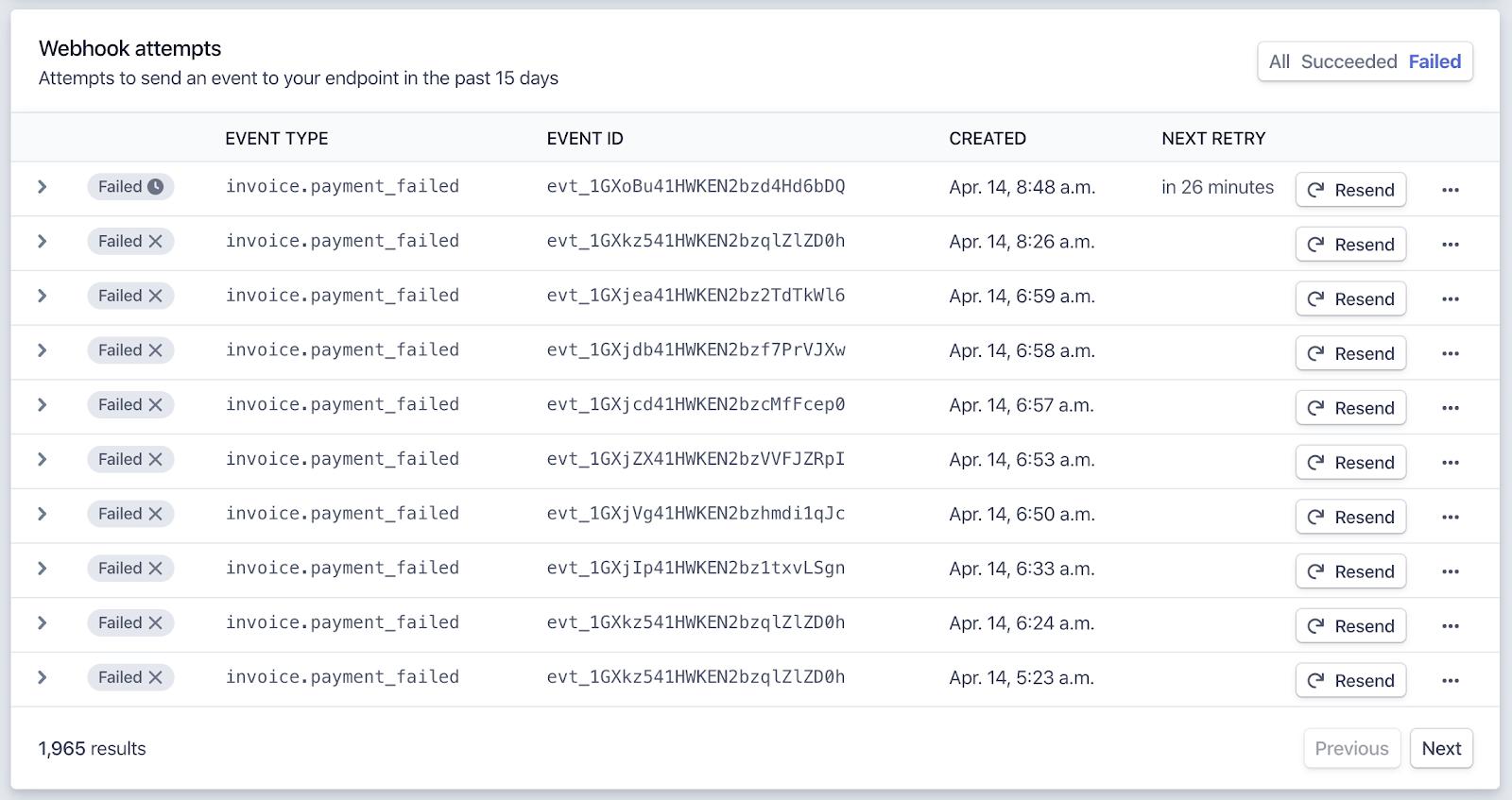 Stripe Webhook monitoring UI
