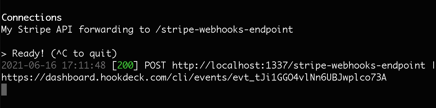 Hookdeck CLI webhook receive