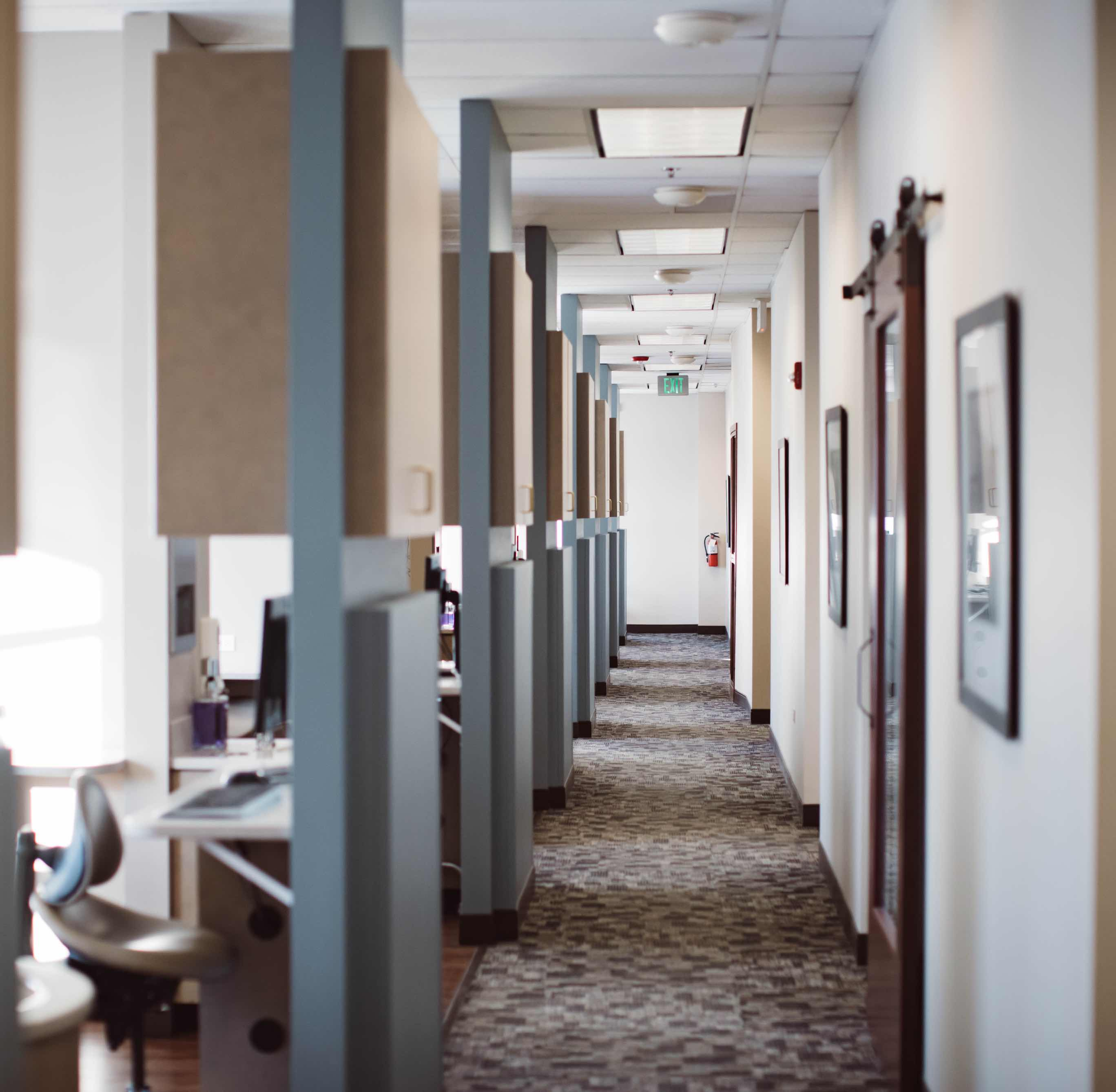 Photo of the hallway that leads to our dental treatment rooms