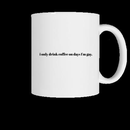 Coffee on gay days Allie and Sam merch, a white ceramic coffee mug