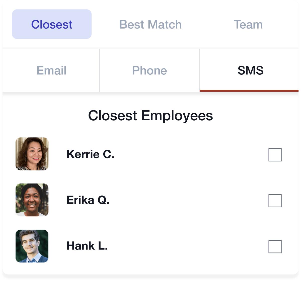 Employees in Cura OS, sorted by closest for scheduling with options for messaging them