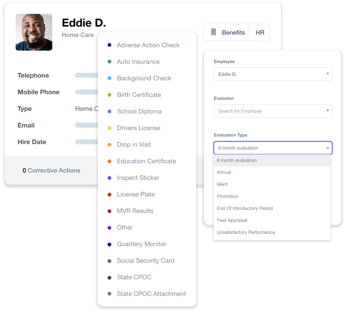 Employee records for HR management in Cura OS