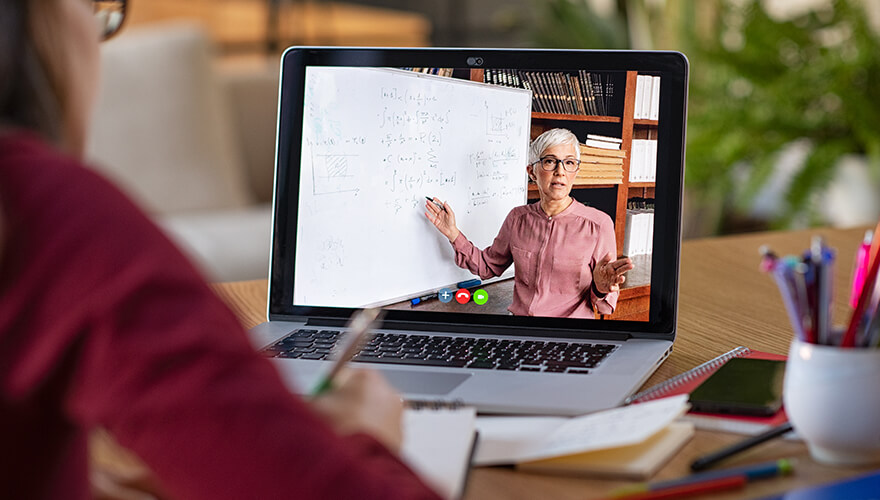 Person attending a webinar