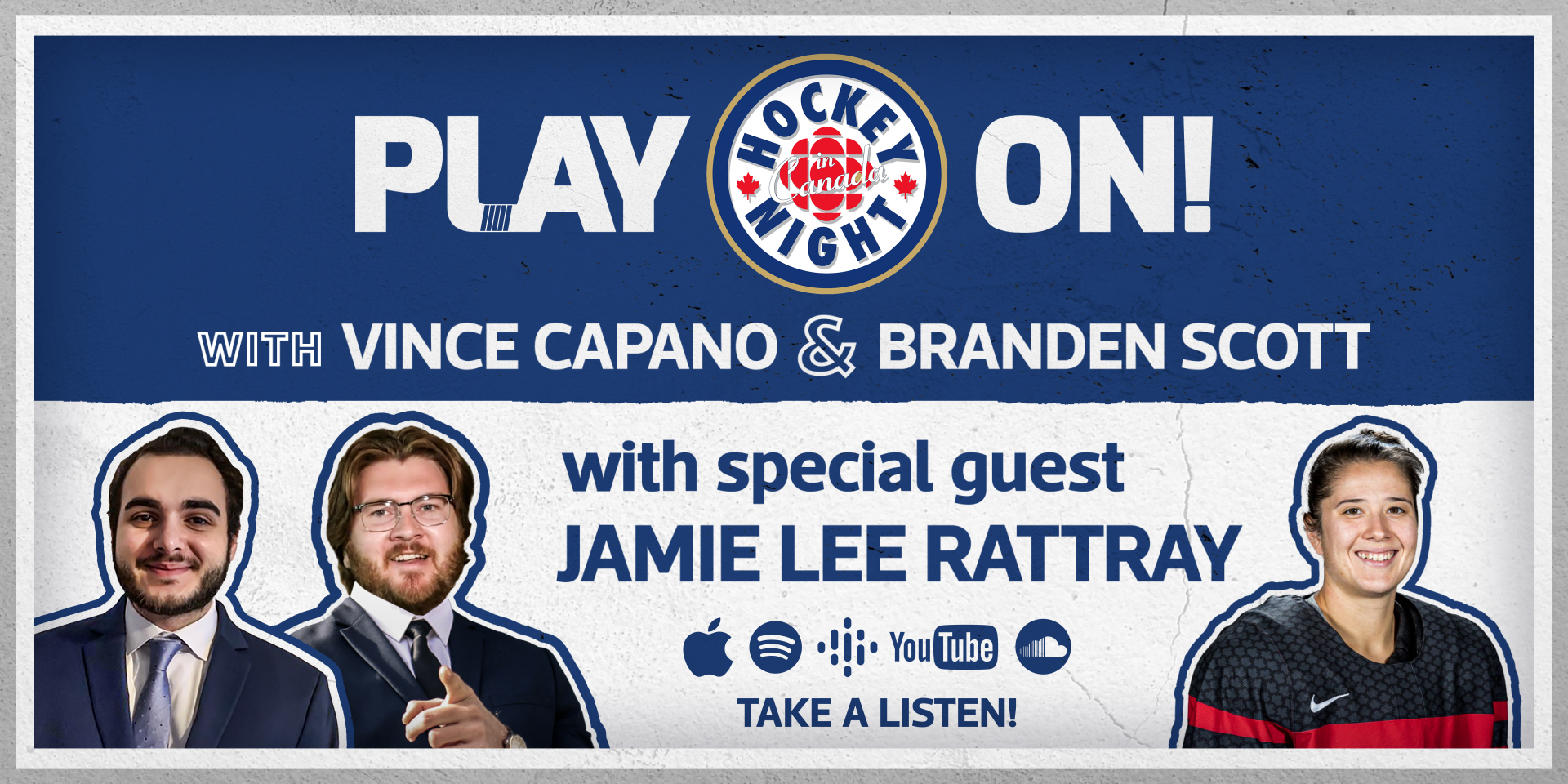Promotional Graphic for the Play On! Podcast featuring Jamie Lee Rattray