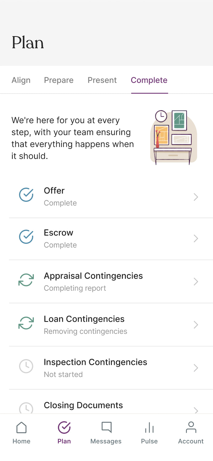 Aalto mobile app UI showing the Plan screen where users check off all things they need to complete like offer, escrow, appraisal, etc.