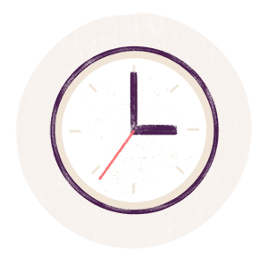Illustrated icon of a wall clock