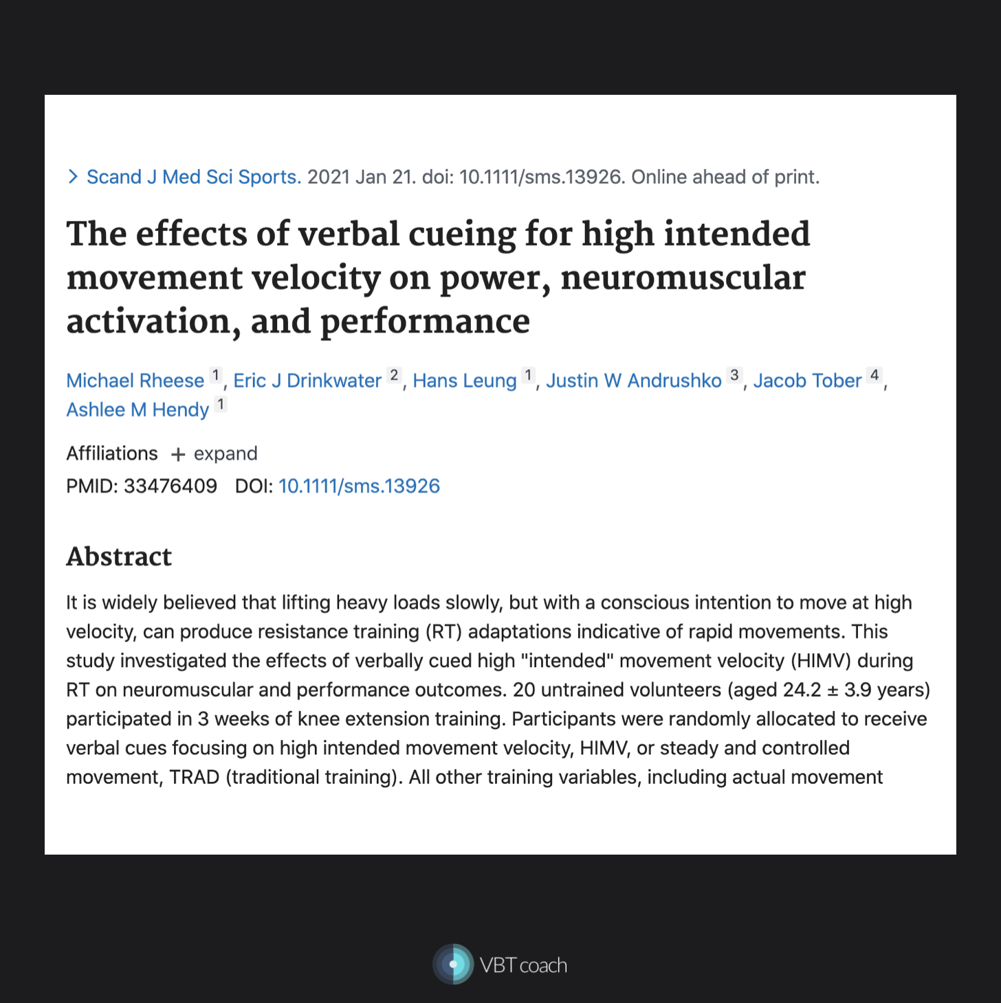 Velocity based training research paper
